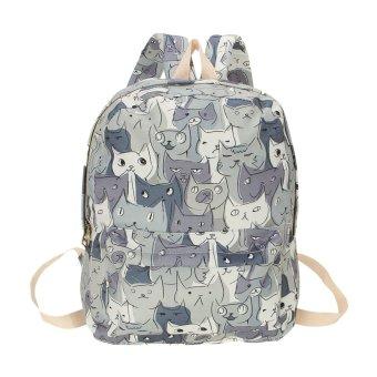 New Cat Canvas Bag Backpack Women Rucksack College Preppy Style Cartoon Printing Schoolbags Large Capacity Shoulder Bag Pack gray - intl