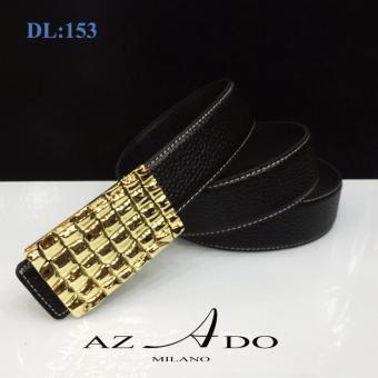 Dây lưng da bò DL:153, thời trang Azado (dây đen mặt vàng)