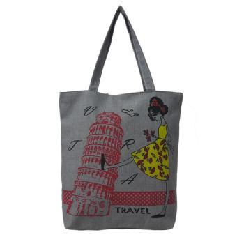 Túi Vải Tote Họa Tiết Girl Eifel Xám Xinh Store