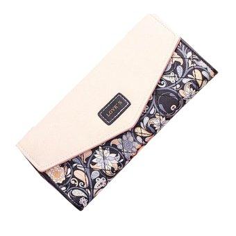 Envelope Leather Wallet Button Clutch Purse Long Handbag Bag Black - INTL