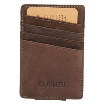 Men Genuine Leather Thin Wallet ID Money Credit Card Slim Holder Front Pocket Coffee - intl