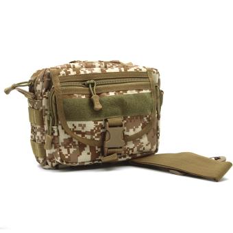 Unisex Men Women Multifunctional Molle Tote Handbag Cross Body Messenger Shoulder Bag Tactical Army Gear Leisure Flap Handy Pouch Desert Digital - Intl - intl