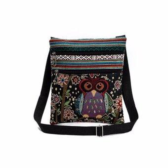 Embroidered Owl Tote Bags Women Shoulder Bag Handbags Postman Package - intl
