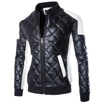 New Men's Motorcycle Jackets Casual Collar Stitching Leather Jacket Coat (Black) (Intl)