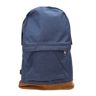 Fasion Men Canvas Backpack Male Travel Bag College Student School Bag(Blue) - intl