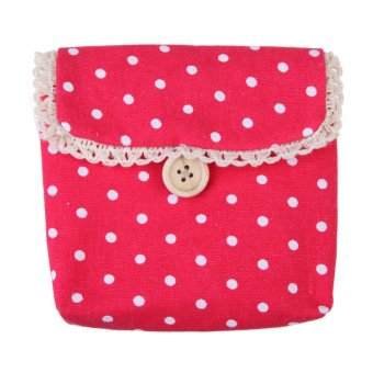 Children Girl Cute Polka Dot Coin Purse Bag Case Napkins Makeup Pouch Red - INTL