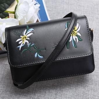 Cyber Retro Flower Embroidery Shoulder Bag ( Black ) - intl