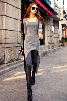 Irregular Women Slim Midi Dress (Grey) - Intl