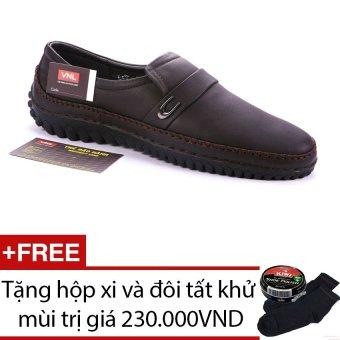 Giày lười nam da thật Da Giày Việt Nam VNLLMT4AZA41QN (Nâu) + Tặng hộp xi và đôi tất khử mùi