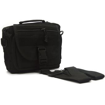 Unisex Men Women Multifunctional Molle Tote Handbag Cross Body Messenger Shoulder Bag Tactical Army Gear Leisure Flap Handy Pouch Black