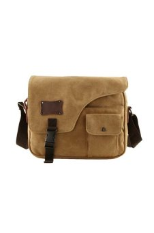 Men Boy Washed Canvas Casual Shoulder Bag Crossbody Messager Bag Tablet PC Carry Bag Travel School Bag Coffee