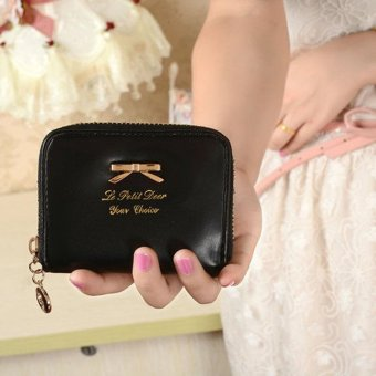 Women Fashion Cute Purse Clutch Wallet Short Small Bag PU Card Holder Black - intl