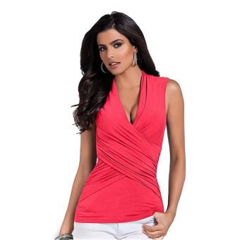 Deep V-neck Shirt Woman Sleeveless Top (Red) - intl