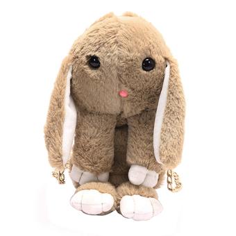 New Women Plush Handbag Messenger Bunny Shoulder Crossbody Bag (Light Brown) - intl