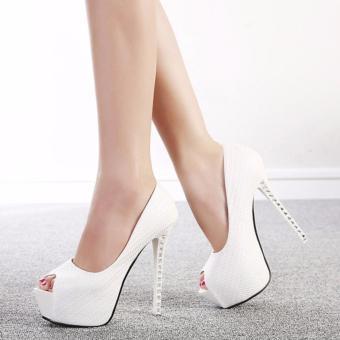 Giày cao gót 14 phân gót đính đá S356 (Trắng)