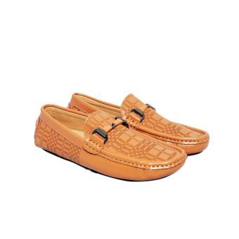 Giày Nam Da Bò Thật Vân Kiểu Cách Cao Cấp Màu Nâu Vàng Elmi Da Thật