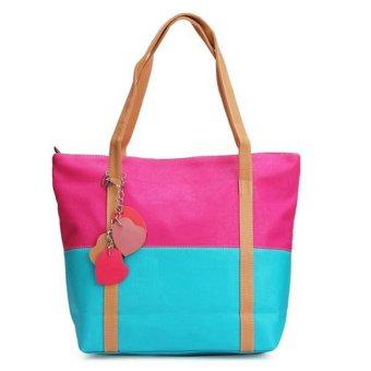 Women Lady Handbag Patchwork Shoulder Shopping Bag Blue - Intl