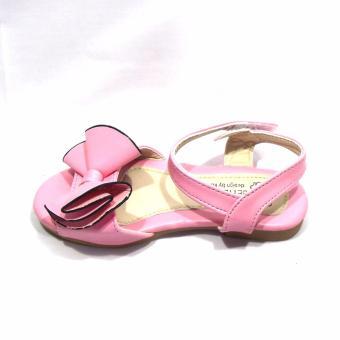 Sandal bé gái nơ hồng to kiểu cách