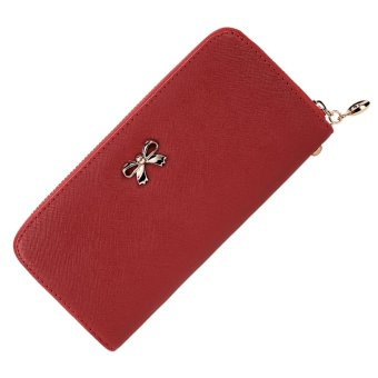 Cyber Women Fashion Synthetic Leather Zip Around Solid Purse Credit ID Card Holder Long Clutch Wallet with Wrist Strap (Red) - Intl