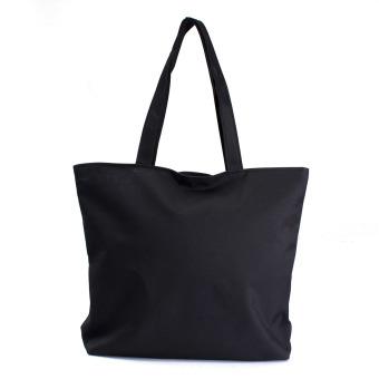 Canvas Shopper Handbag Shopping Summer Beach Shoulder Bag Black - Intl