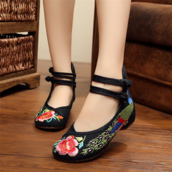 New Chinese Style Women Casual Shoes Flower Sandals Embroidered Flats Mary Janes - intl