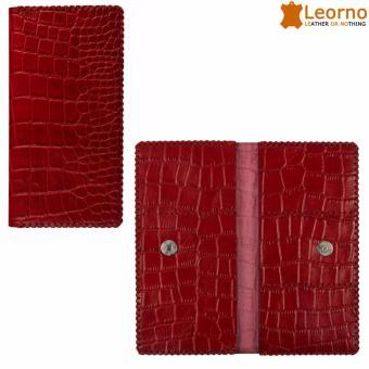 Ví da cầm tay unisex gập đôi handmade VD47 - Leorno - đỏ
