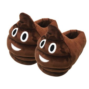 niceEshop Adult Funny Warm Cozy Soft Plush Stuffed Emoji Slippers Home Indoor Cute Winter Shoes Non-slip Shoes - intl