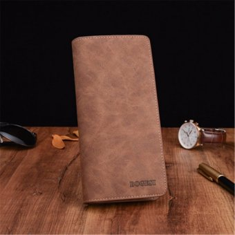 Men Leather Bifold Long ID Card Holder Wallet Organizer Purse Coin Bag Handbag Coffee - intl
