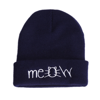 MEOW Cap Winter Casual Hip Hop Knitted Wool Skullies Beanie Hat (Navy) - intl
