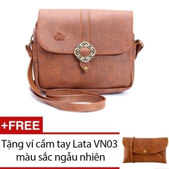Túi đeo chéo LATA HN09 (Da bò đậm ) + Tặng 1 ví cầm tay Lata VN03