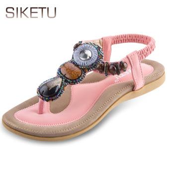 SIKETU Bohemia Rhinestone Design Slip On Flip-flop Sandals(Pink) - intl