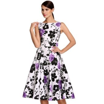 Cyber ACEVOG Stylish Lady Women's Fashion Casual Sleeveless Floral Printed Mid-calf Length Party Cocktail Evening Dress (Intl) - Intl