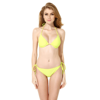 Colloyes 2015 New Sexy Greenish Yellow Triangle Top With Classic Cut Bottom Bikini Swimwear Size S - Intl