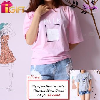 Áo Thun Nữ Tay Ngắn In Hình Milk Phong Cách Tiano Fashion LV345 ( Màu Hồng ) + Tặng Áo Thun Nữ Tay Ngắn In Hình Ly nước Shullhong Năng Động Tiano Fashion