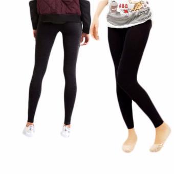 Bộ 2 quần legging thun nữ co giãn (Đen Xám)