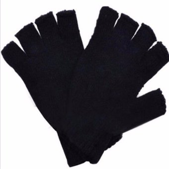 Fancyqube Men Women Black Knitted Stretch Half Finger Gloves for Winter Lady Girls Soft Warm Elastic Mittens Accessories - intl