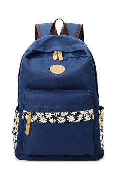 Flower Printed Multi-purpose Waterproof Canvas Schoolbag School Outdoor Travel Backpack Tablet Laptop Carry Bag Dark Blue for Women Girls Student - intl