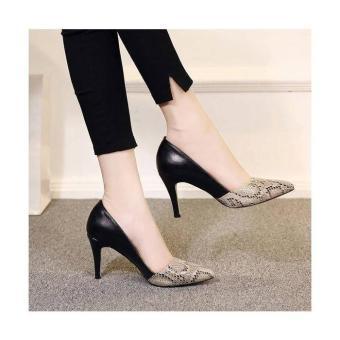 Giày cao gót mũi phối da rắn sang trọng - LN648