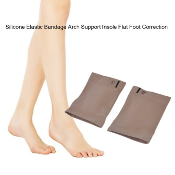 Allwin Men Women Silicone Elastic Bandage Arch Support Insole Flat Foot Correction - intl