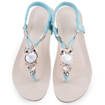 Bohemia Ladies Beach Flip-flop Owl Rhinestone (Light Blue) - intl