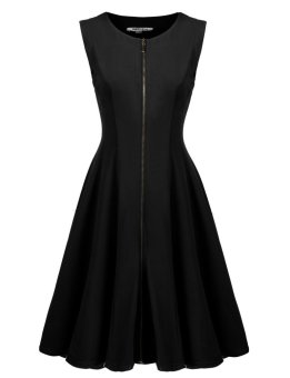 Linemart Women O-Neck Sleeveless Solid Zip-Front Fit and Flare Party Dress ( Black ) - intl