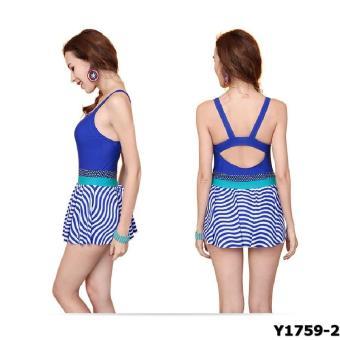 Bộ liền váy Yingfa Y1759-2 (vân xanh)