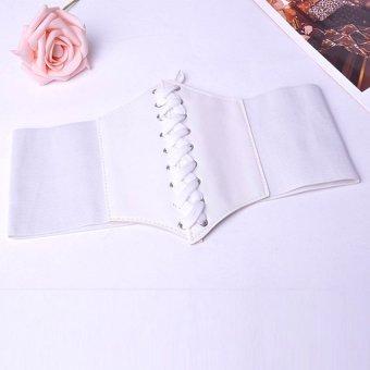 Moonar Women Strong elasticity Lacing PU Waistband (White) - Intl