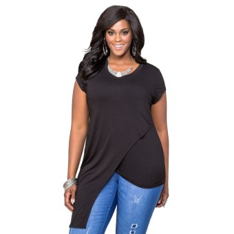 Gamiss Round Neck T-shirt Double-deck Woman Top Irregular Hem Over Sizes(Black) - Intl