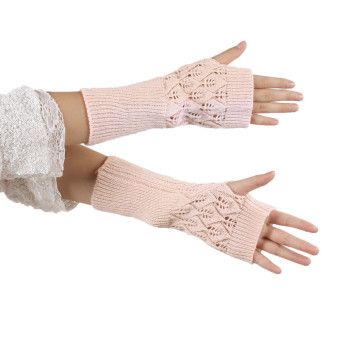Hollow Out Leaves Knitted Gloves Beige