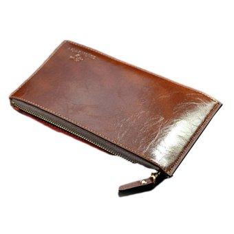 Fancyqube Wallet Long Zip Business Man Clutch Coin Purse Card Bag Brown - Intl