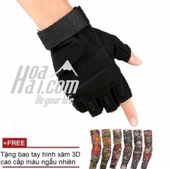 Găng tay kiểu tác chiến cảnh sát đặc nhiệm (đen) + Tặng bao tay in hình xăm 3D