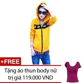 Áo khoác nữ họa tiết sóc + Tặng 1 áo thun body nữ