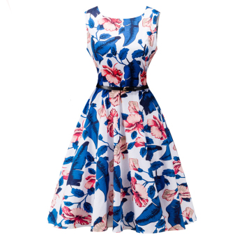 Female Flower Print U Neck Pin up Audrey Vintage Dress(Dark blue) - intl