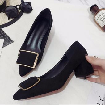Giày nữ da lộn khóa vuông